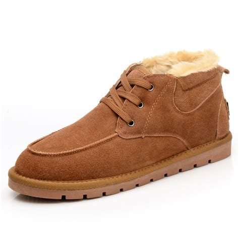snow boots winter suede leather shoes warm ankle