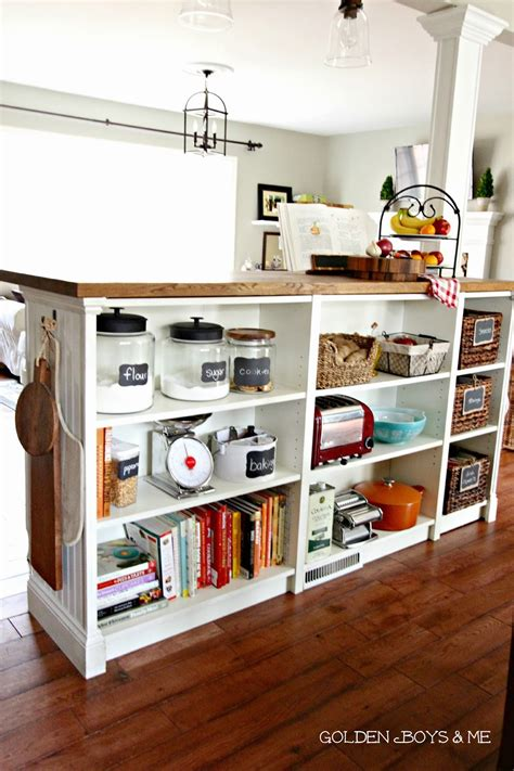 kitchen bookcase ideas golden boys and me bookshelves turned kitchen island ikea hack more details