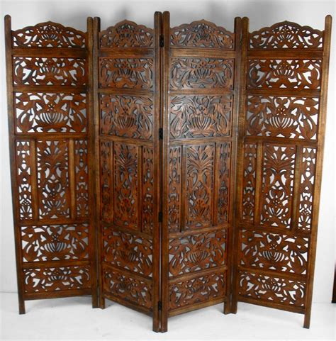 4 Panel Hand Carved Indian Screen Wooden Leaves Design Carved Wood Room Divider