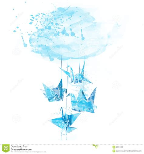 How To Make Paper Spray - watercolor paper cranes origami stock illustration image