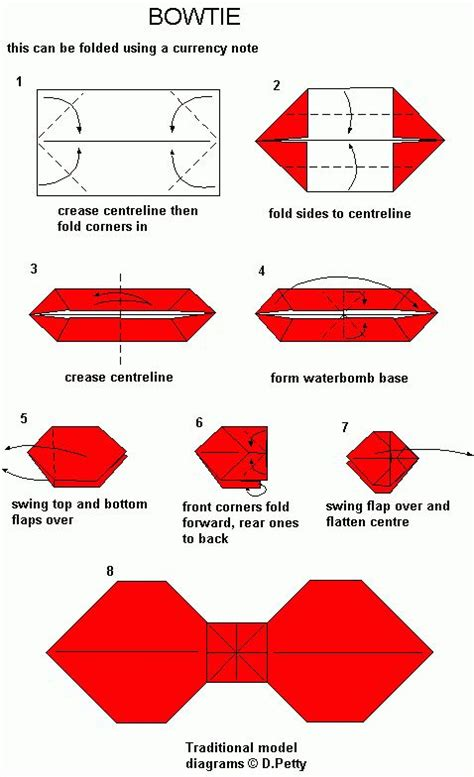 Origami Necktie - how to make origami bow ties step by step diy tutorial