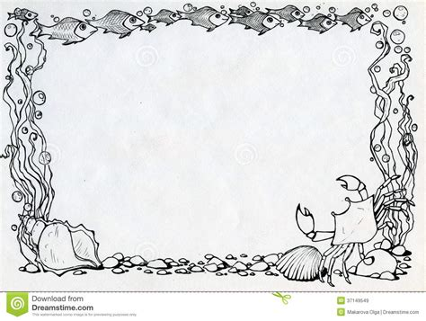 ocean border coloring page frame with crab fishes and algae stock image image
