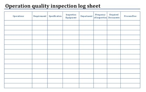 Quality Check Sheet Template by Operation Quality Inspection Log Sheet Format