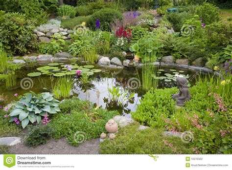 Ponds In Backyard Garden Pond Stock Photo Image Of Luxuriant Garden