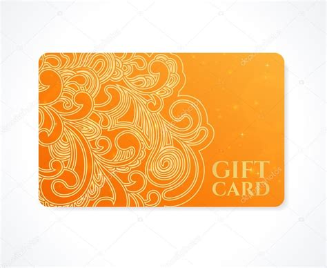 Orange Gift Card - bright orange gift card business card discount card template with floral scroll