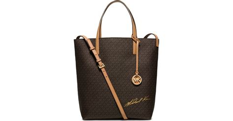Tote In Signature 54690 Brown lyst michael kors signature logo large convertible tote in brown