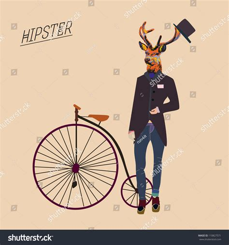 imagenes hipster retro hipster deer with a vintage bike and cool hat stock vector