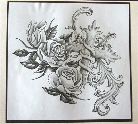 cross with roses tattoo designs cross and roses flash
