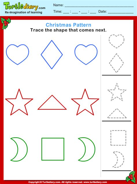 christmas pattern trace shape worksheet turtle diary