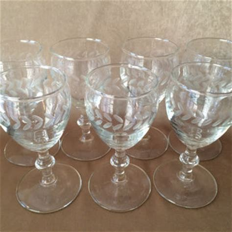 etched barware etched wine glasses sherry or cordial from dotnbettys on
