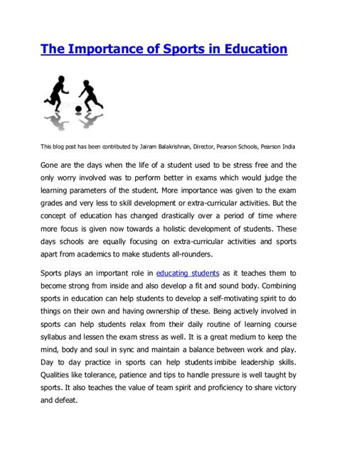 thesis about education slideshare the importance of sports in education