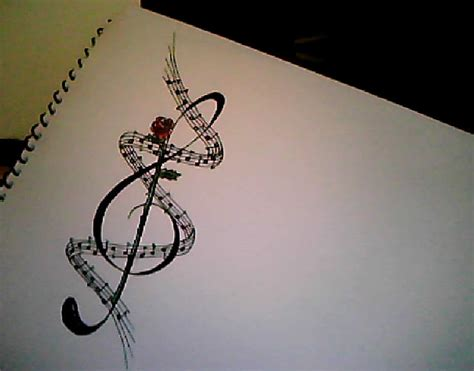 treble clef with rose tattoo treble clef and by mjaybloss on deviantart