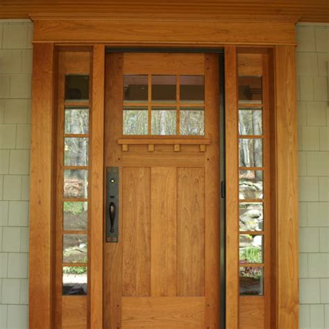 Cherry Entry Door Accented By Craftsman Hardware Front Door Craftsman Style