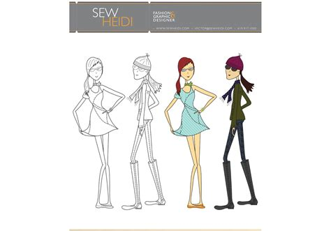 fashion illustration resources free outfitted fashion sketch vectors