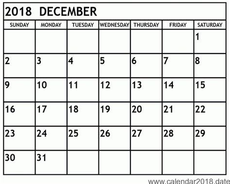Free Printable Calendar December 2018 Free Printable Calendar 2018 Templates Download Free Calendar Template 2018
