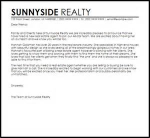 Real Estate Consultant Cover Letter by New Real Estate Announcement Letter Livecareer