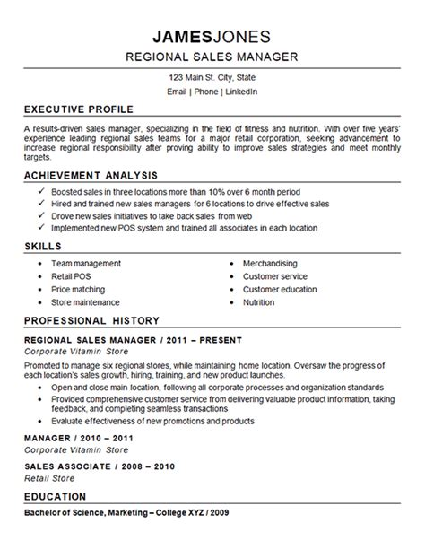 Sales Manager Resume Exles by Regional Sales Manager Resume Exle Nutrition Fitness