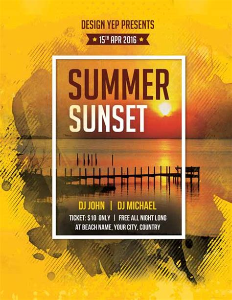 download free summer psd flyer templates