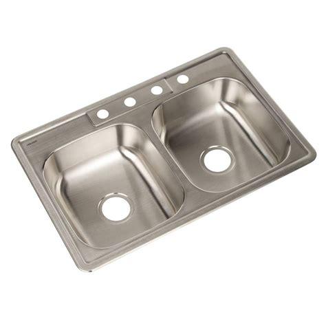Houzer Kitchen Sinks Houzer Glowtone Series Drop In Stainless Steel 33 In 4 Bowl Kitchen Sink A3322