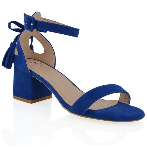 blue block heel sandals new womens ankle block low heel cut out bow