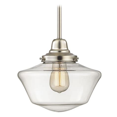 schoolhouse mini pendant light 10 inch satin nickel clear glass schoolhouse mini pendant