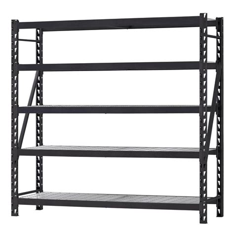 metal garage shelving husky 90 in h x 90 in w x 24 in d 5 shelf welded steel shelving unit with wire deck in black