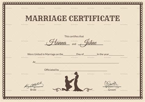 marriage certificate vintage marriage certificate design template in psd word