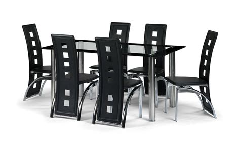 Glass Dining Sets 6 Chairs Black Glass Dining Room Table Set And With 4 6 Or 8 Faux Leather Chairs Chrome