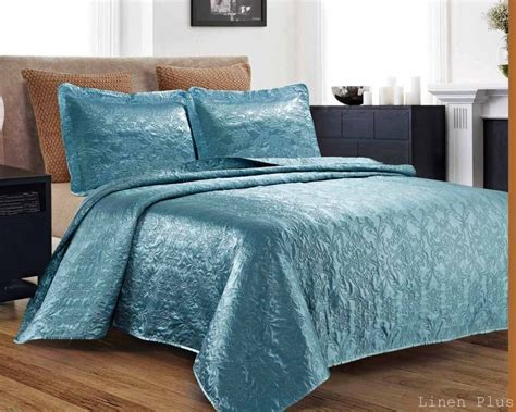queen coverlet size 3 piece silky satin light turquoise quilted bedspread