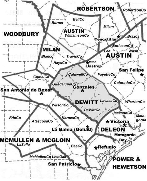 texas colonies map dewitt s colony the handbook of texas texas state historical association tsha