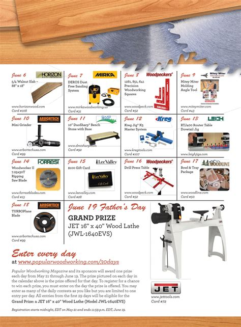 popular woodworking sweepstakes popular woodworking sweepstakes 30 days for