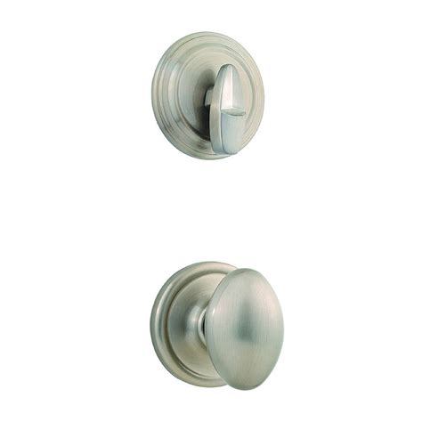 Satin Nickel Interior Door Knobs Shop Kwikset Laurel 1 3 4 In Satin Nickel Single Cylinder Knob Entry Door Interior Handle At