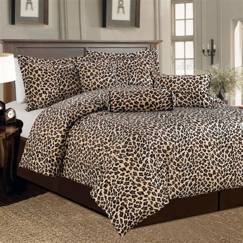 7 pc brown and beige leopard print faux fur king size