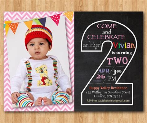 Second Birthday Invitation Chalkboard 2nd Birthday Invite 2nd Birthday Invitations Templates Free