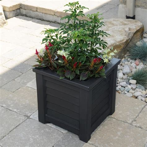 Black Wooden Planter Boxes by Plastec 10 In X 12 In Hexagon Black Plastic Wall Planter