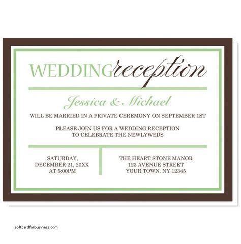 templates for wedding reception invitations wedding invitation elegant wedding reception invitation