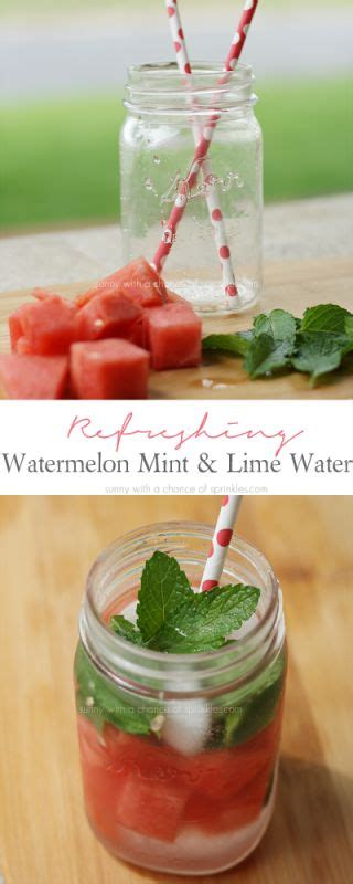 Watermelon Lime Detox Water by Refreshing Watermelon Mint Lime Water