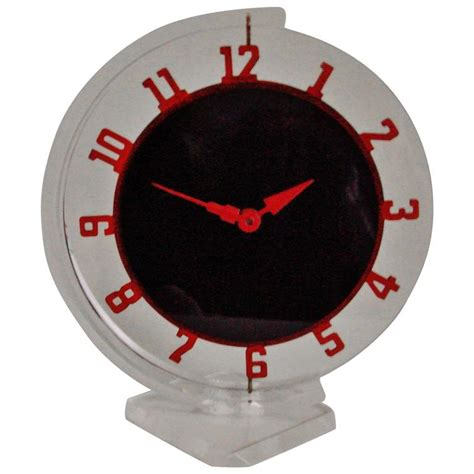 mechanical desk clock canadian art deco lucite and painted metal mechanical