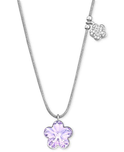 swarovski rhodium plated violet flower pendant