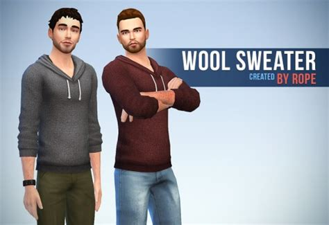 Set Hoody Mustache Cc 1 wool sweater by sims on the rope sims 4 nexus