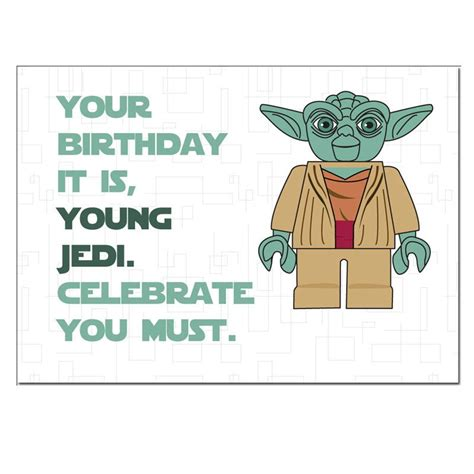 printable birthday cards star wars lego star wars yoda birthday card by designedbywink on