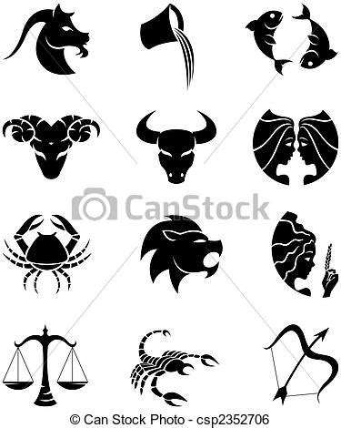 stock illustration of horoscopes silhouettes zodiac star