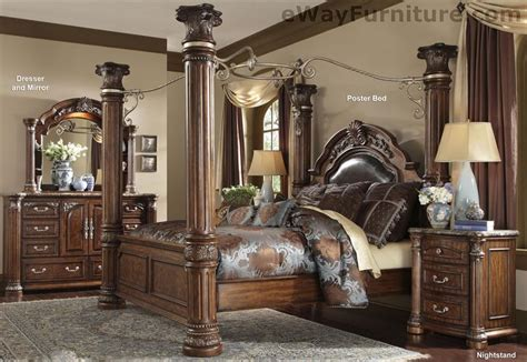 poster bedroom furniture set with leather headboard cafe noir four poster bedroom set with iron canopy