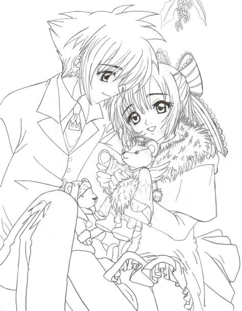 anime coloring pages anime christmas couple colouring