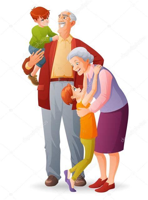 imagenes de abuelos alegres felices abuelos con sus nietos alegres vector de dibujos