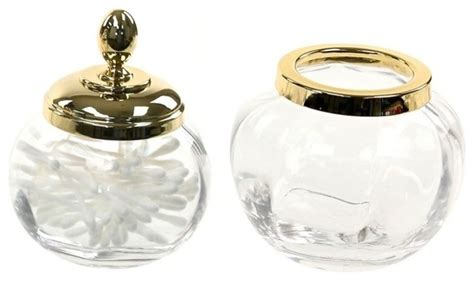 gold 2 accessory set of clear glass contemporary