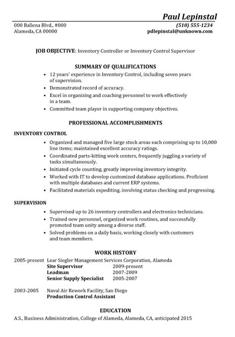 Good Job Objectives For A Resume by Resume Sample Inventory Control Supervisor