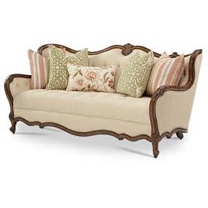 tufted sofa set michael amini lavelle melange finish traditional wood trim