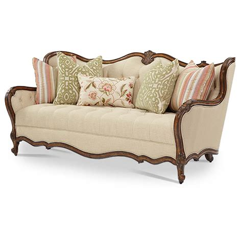 Michael Amini Lavelle Melange Finish Traditional Wood Trim Traditional Tufted Sofa