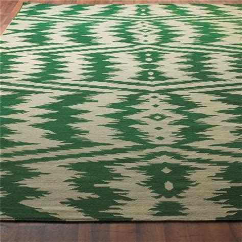 Emerald Green Area Rug Ikat Stripe Dhurrie Rug Emerald Green And Taupe Eclectic Rugs By Shades Of Light